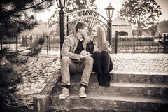 Couple in vintage park Stock Images
