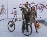 Couple of Vintage rider and bicycle Stock Images