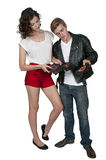 Couple with vinyl records Royalty Free Stock Photos