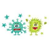Couple of virus, germ, bacteria, microorganism characters with human faces. Couple of virus, germ, bacteria characters with human faces and sharp teeth, cartoon royalty free illustration