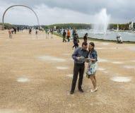 Couple Visiting a French Garden Royalty Free Stock Photos