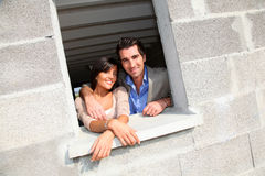 Couple visiting future home Stock Photo