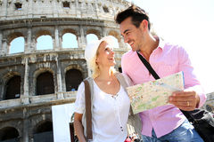 Couple visiting Rome with help of map Stock Photos