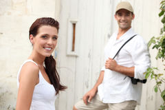 Couple visiting a village Stock Images