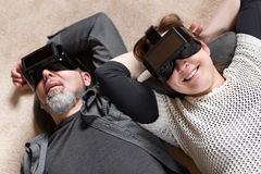 Couple with vr glasses, downview Royalty Free Stock Photography