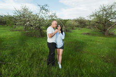 Couple waiting for a baby blowing on dandelions Stock Photography