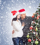 A couple waiting for the baby at Christmas Royalty Free Stock Photos