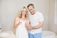 Couple waiting for a pregnancy test results Royalty Free Stock Photo