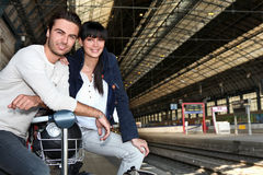 Couple waiting for train Royalty Free Stock Image