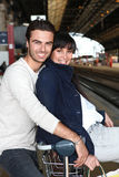 Couple waiting for the train Royalty Free Stock Image