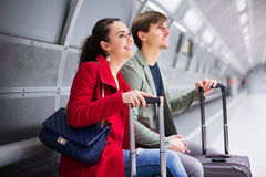 Couple waiting for train Royalty Free Stock Photo