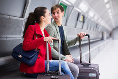 Couple waiting for train Stock Image