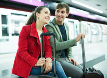 Couple waiting for train Stock Photo