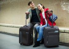 Couple waiting for train Stock Photos