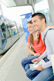 Couple waiting for tram Royalty Free Stock Photo