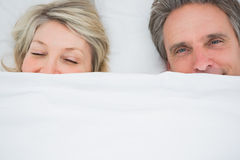 Couple waking up under the covers. At home in bed Stock Image
