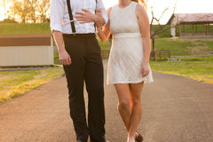 Couple Walikng Holding Hands Royalty Free Stock Image