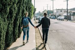 Couple in walk Royalty Free Stock Photo