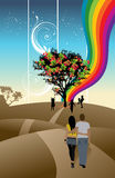 Couple walk. An illustration of a colorful abstract background Stock Photos