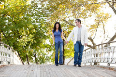Couple Walk Bridge Stock Photography