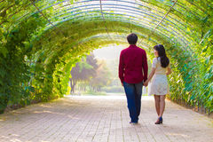 Couple walk in the green tunnel Stock Images