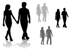 Couple on a walk. Man and woman. Couple of young people walking Royalty Free Stock Photography