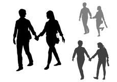 Couple on a walk. Man and woman. Couple of young people walking Royalty Free Stock Photo