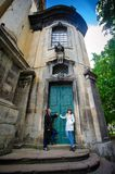 Couple walk in old town lvov, kiss and love Royalty Free Stock Images