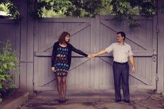 Couple walk in park Stock Photos