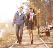 Couple on a walk in the park Stock Image