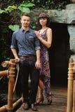 Couple on a walk in romantic place botanical garden Stock Photos