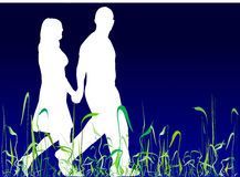 Couple walking. Loving couple walking in grass royalty free illustration