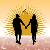 Couple walking. Walking couple silhouette vector background Royalty Free Stock Images
