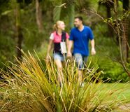 Couple walking. Couple out exercising on the walkways of a residential area royalty free stock image