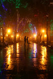 Couple walking at alley in night lights Royalty Free Stock Photo