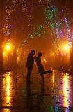 Couple walking at alley in night lights. Photo #5 Royalty Free Stock Photo