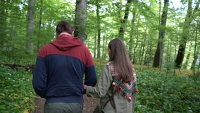 Couple walking along a forest path stock video footage