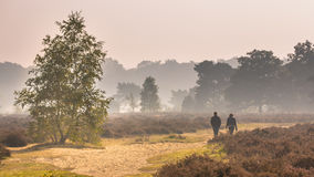 Couple walking along path through heathland Stock Image