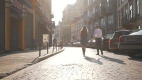 Couple walking around the city.  stock footage