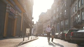Couple walking around the city.  stock footage