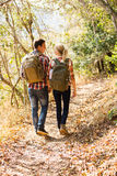 Couple walking autumn forest Stock Photo