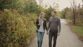 Couple walking in the autumn park. HD stock video
