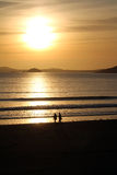 Couple Walking Beach with Sunset Royalty Free Stock Images