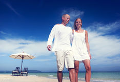 Couple Walking Beach Vacation Holiday Trip Concept Royalty Free Stock Image