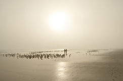 Couple walking on beautiful foggy beach. Royalty Free Stock Photography