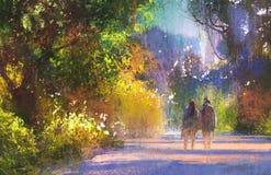 Couple walking in beautiful place,landscape stock illustration