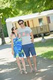 Couple walking in campsite. Couple walking in the campsite Royalty Free Stock Photo