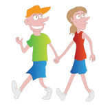Couple walking cartoon Royalty Free Stock Photography