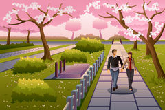 Couple Walking During Cherry Blossom Royalty Free Stock Photos