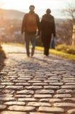 Couple walking on cobblestone foot path Royalty Free Stock Photos